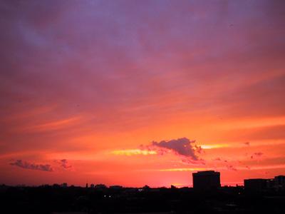 Magnifique coucher de soleil orange