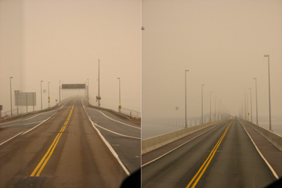 Confederation Bridge dans le brouillard