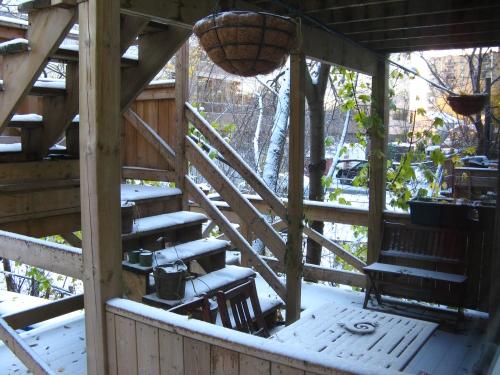 Premieres neiges sur la terrasse du jardin