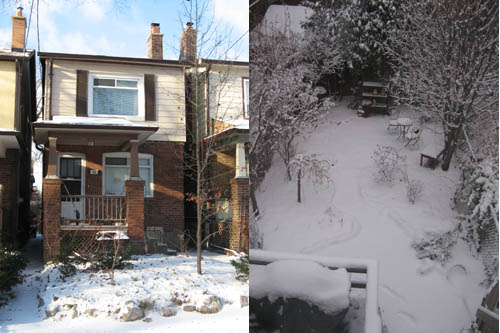 Devant de la maison et backyard sous la neige